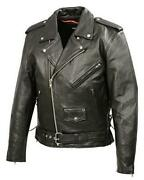 Mens Classic Side Lace Police Style Premium Cowhide Motorcycle Jacket