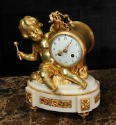Ormolu And White Marble Antique French Clock Putto In Clouds Playing A Drum C1880