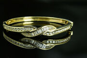 14k Yellow Gold Approx 3.00 Carat Baguette And Round Diamond Hinged Bangle