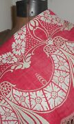 Antique 19th Turkey Red Floral Swag Linen Cotton Damask Jacquard Woven Fabric 1