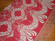 Antique 19th Turkey Red Floral Swag Linen Cotton Damask Jacquard Woven Fabric 2