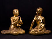Pair Of Antique Monk Statues From Burma 19th Century