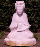 Old Marble Guan Yin Statue From Burma Middle 20th Century