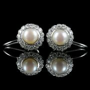 1.05ct Natural Round Diamond Pearl Gemstone 14k Solid White Gold Hoops Earring