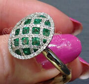 Christmas 1.91ct Natural Round Diamond Emerald 14k White Gold Cocktail Ring
