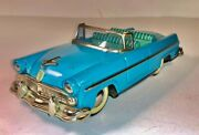 Vintage Late 1950and039s Tin Lithograph Blue 1955 Ford Sunliner Convertible - By Haji