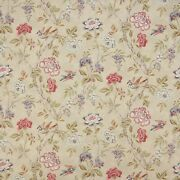 Colefax And Fowler Tree Of Life Birds Floral Linen Fabric 10 Yards Pink Green Mult