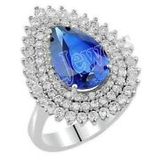 Christmas 1.96ct Natural Round Diamond Sapphire 14k White Gold Cocktail Ring