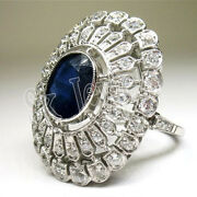 Christmas 1.48ct Natural Round Diamond Sapphire 14k White Gold Cocktail Ring