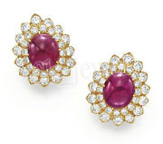 Christmas 1.54ct Natural Round Diamond Ruby 14k Solid Yellow Gold Stud Earring