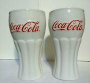 Coca-cola Milk Glass Tumblers Red Lettering Set Of 2