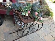 Vintage Rustic Wicker Sleigh Or Buggy Metal For Doll Christmas