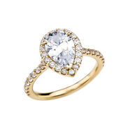 Solid Gold 3 Carat Cubic Zirconia Pear Shape Solitaire Elegant Engagement Ring