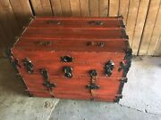Large Old Antique Wooden Steamer Trunk Chest - Red And Pink Floral Update