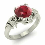 1 Carat Natural Ruby Solitaire Leaf Engagement Ring In 14k White Gold
