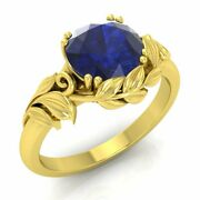 1 Carat Natural Blue Sapphire Solitaire Leaf Engagement Ring In 14k Yellow Gold