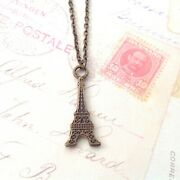 Eiffel Tower Charm Necklace Antique Gold Chain Paris Jewelry French Pendant