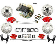 Front And Rear Power Disc Conversion W/ Red Wilwood Calipers For 1970-80 Camaro
