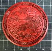 Vintage Chinese Hand Carved Cinnabar Lacquer Round Mountain Box Container 5.75 Andrdquo