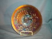 Northwood Carnival Glass Peacock On Fence Plate Purple