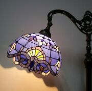 Style Reading Floor Lamp Purple Blue Adjustable Stained Glass 64 High