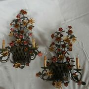 Two Currey And Co Metal Wall Sconces - Rose And Vine In Basket - Set Of Two