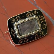 An Antique Gold And Black Enamel Mourning Brooch, Engraved And Dated 1837.