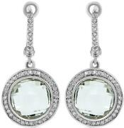 8.67ct Diamond And Aaa Green Amethyst 14kt White Gold 3d Round Hanging Earrings