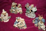 Boyd Bears And Friends Figurines Lot Of 5 W/ 1 Bearstone Collection Euc