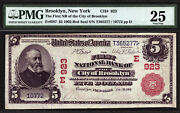 5 1902 Red Seal First National Bank City Of Brooklyn, New York Ch 923 Pmg 25