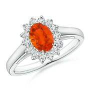 Princess Diana Inspired Fire Opal Ring With Diamond Halo In Silver/gold/platinum