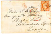 France Cover 1857 Nimes To London Uk - Red British Cancels On Stamp - Cover628