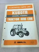 Kubota Tractor And Cab Model M5950 Illustrated Parts List Manual August 1985
