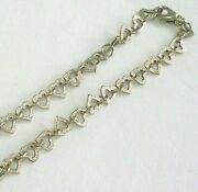 16 Sterling Silver Heart Link 10mm Textured Necklace Soldered Jump Rings 33gm