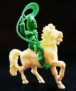 Jean Hoeffler Hong Kong Plastic Toy Soldier Cowboy With Lasso On The Horse 1970s