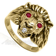 Menand039s Lion Ring 14k Yellow Gold Natural Diamond And Ruby Black Antique Finish