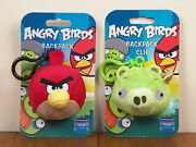 Angry Birds 2-lot Red Bird And King Pig Plush Bookbag Backpack Clip Keychain New