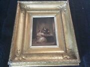 Antique Early 19th Century Painting Oil Signed C.leslie In Gilt Gesso Frame