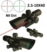 2.5-10x40 Tactical Scope Red N Green Illuminated With Red Laser Quick Sight