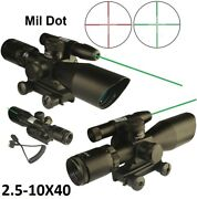 2.5-10x40 Tactical Scope Red N Green Illuminated With Green Laser Quick Sight