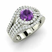 1.97 Carat Natural Amethyst And Si Diamond Halo Engagement Ring 14k White Gold