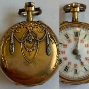 Antique French 18ct Yellow Gold Diamond Set Regency Style Ladies Fob Watch