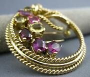 Antique Large Aaa Multi Gem 5.20ct 14kt Rose Gold Love Knot Pin Pendant 26767