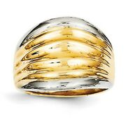 14 Kt Yellow Gold 2-tone Polished Ribbed Design Wide Cigar Band Ring Dome New 11
