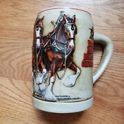 Vintage 1991 Collectible Beer Stein Famous Budweiser Clydesdales On Parade Mug