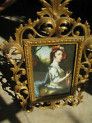 Antique Paint Finish Bronze/brass W Easel Table Picture Frame