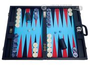 Wycliffe Brothers 24 Backgammon Set 2 Checkers - Blue Case / Light Blue Field