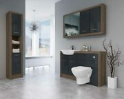 Bathroom Fitted Furniture 1400mm Truffle Brown Davos Oak / Anthracite Gloss Dh7