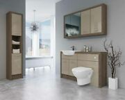 Bathroom Fitted Furniture 1400mm Truffle Brown Davos Oak / Cappuccino Gloss Dh7