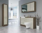 Bathroom Fitted Furniture 1400mm Truffle Brown Davos Oak / Cream Gloss Dh6 With